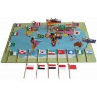 Weltkarte mit 36 Flaggen, groß