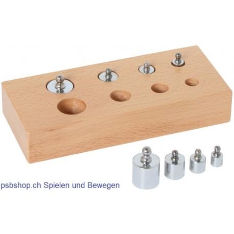 Holzblock mit kleinen Gewichten, 16x7x4cm