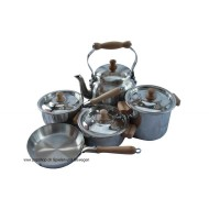 Kinder-Kochgeschirrset Alu mit Holzgriff D10 cm 9-teilig