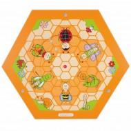 Wandelement Bienenstock - Wiesentiere, mit zwei Drehscheiben die Insekten neu zusammensetzen.