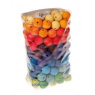 180 Holzperlen - Regenbogen Perlensortiment für fädeln oder sortieren D.20mm