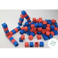Steckwürfel-Set in rot und blau - Raum und Form