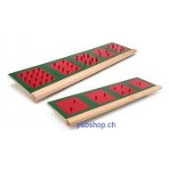Metallene Quadrate Metallene aufgeteilte Quadrate auf zwei Holzleisten, ab 6 Jahren