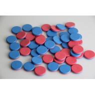 50 rot, blaue Wendeplättchen zum Spielen und Rechnen