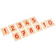 Auswahl-Satz Ziffern auf Holzbrettchen u. Kasten für die Ziffern