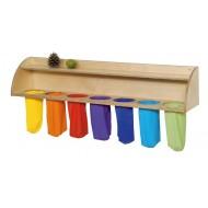 Ablageleiste mit sieben Tastbeuteln ab 1-jährig 100x 40x 20 cm,  Tasten und Fühlen