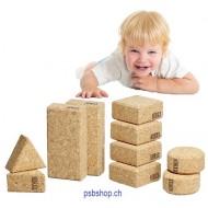 10 Kork-Bausteine, Einstiegsset für Kleinstkinder ab 12 Monaten