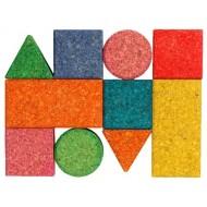 10 farbigen Korkbauklötze in geometrischen Formen