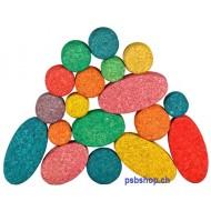 20 farbige Kreise und Ovale Korkbauklötze