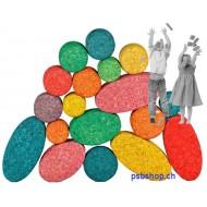 40 farbige Kreise und Ovale Korkbauklötze