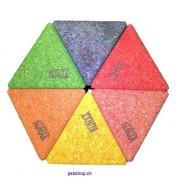 6 große bunte Dreiecke, Kork-Bausteine