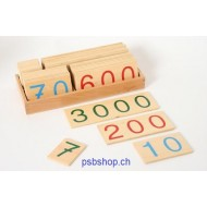 Zahlenkarten 1-9000, aus Holz im Holzkasten.