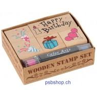 Stempelset Happy Birthday, 8,3x7x2,5