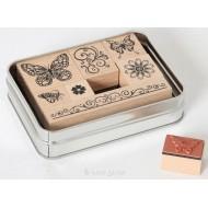 Stempelset Schmetterlinge in Dose, 13x9,5x3cm