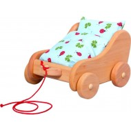 Nachziehwagen- Puppenspiel mit Bettzeug, ab 1 Jahren