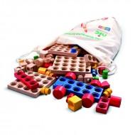 CUBIO Steckbausteine - Kita, Kindergarten-Sortiment mit 221 Teilen im Sack