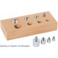Holzblock mit kleinen Gewichten aus Messing, 14x9x4cm