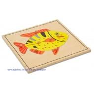 Der Fisch- Holzpuzzlekarte in der Größe 24 x 24 cm