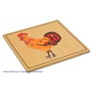 Der Hahn - Holzpuzzlekarte in der Größe 24 x 24 cm