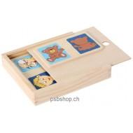 Holzpuzzle-Set Gegensätze (10) in Holzbox 8x8 cm, ab 3-jährig