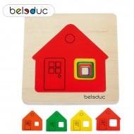 Häuschen 4-teilig, Lagenpuzzle für die Kleinsten 143 x 145 x 18 mm, ab 2-jährig