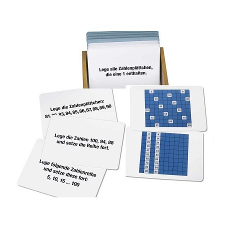 Arbeitskartei zum Hundertertafel, 100 Aufgabenkarten
