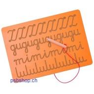 Nachspurtafel, Schwungübungen zu Buchstaben inkl. Holzstift