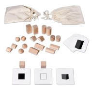 Geheimnisvoller Beutel, Profimaterial inkl. Lernkarten mit großen Holzkörpern