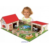 Bauernhof mit Gebäuden, Zubehör und Figuren ab 5-jährig