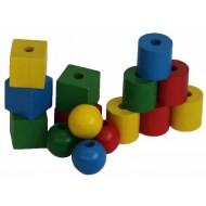 Fädelspiele, geometrische Hozperlen, 35mm, ab 2-jährig