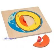 Das Innere der Erde, Holzpuzzlekarte