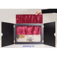 Kamishibai Theatervorhang aus rotem Satin 31 x 57 cm