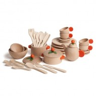 Koch- und Geschirrset Natur aus Holz, 36-Teile, ab 3-jährig