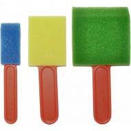 3er Set Schaumstoffpinsel bunt -Schwammpinsel Sortiment für die Kreativarbeit